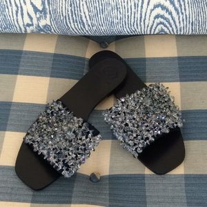 Tori Burch Crystal satin slides